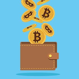 Denaro cyber di bitcoin nel disegno dell'illustrazione di vettore del portafoglio