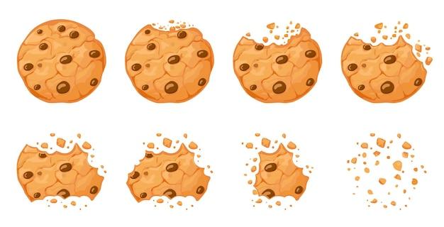 Biscotto con gocce di cioccolato morsicato. sgranocchiare biscotti marroni fatti in casa rotti con briciole. insieme di vettore di animazione del morso dei biscotti al cioccolato al forno del fumetto. l'animazione dell'illustrazione scompare panificio pezzo di briciola di cioccolato