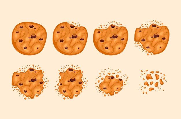 Biscotto al cioccolato morso isolato, set di cartoni animati