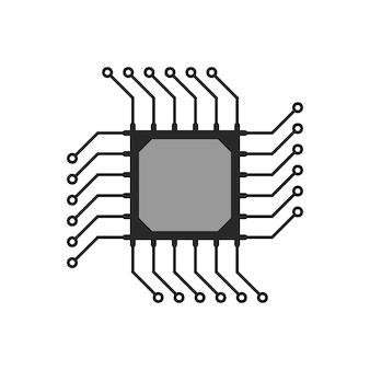 Icona del circuito microchip astratto nero. concetto di informatica, attrezzatura tecnica, logica del chipset, circuiti. isolato su sfondo bianco. stile piatto tendenza moderna logo design illustrazione vettoriale