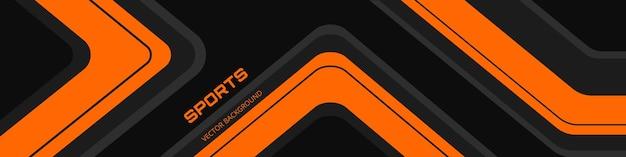 Banner orizzontale largo astratto nero con linee arancioni e grigie