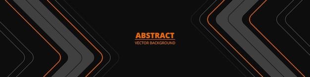 Striscione sportivo moderno orizzontale largo nero astratto con linee grigie e arancioni