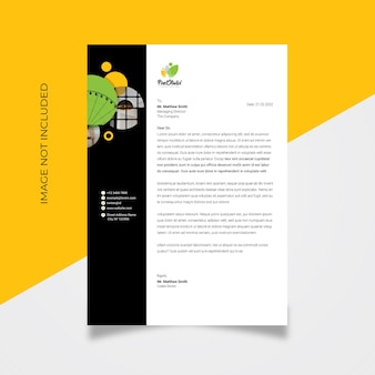 Carta intestata aziendale con accento nero