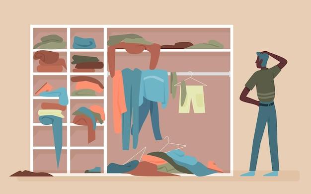Uomo afroamericano nero che sceglie i vestiti nell'illustrazione di vettore della stanza del guardaroba domestico dell'abbigliamento.