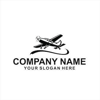Vettore logo aereo nero