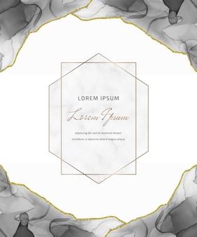 Carta glitter inchiostro nero alcool con foglie e cornici geometriche in marmo