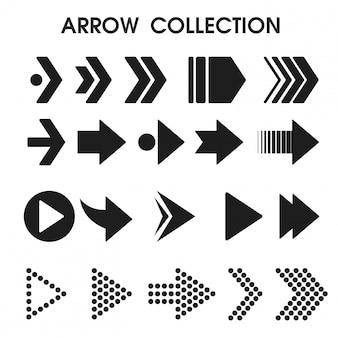 Icone nere della freccia che sembrano semplici e moderne.