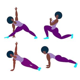 Un atleta nero fa yoga o fitness. illustrazione vettoriale