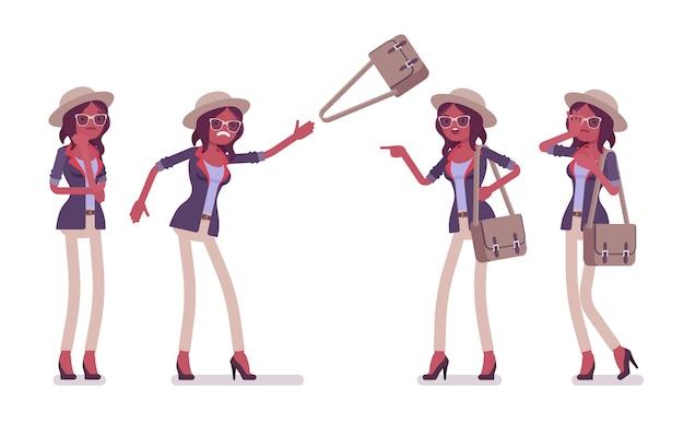 Cappello da portare della donna negativa casuale astuta attraente nera, vetri. ragazza snella ed elegante alla moda con borsa a tracolla di cattivo umore, emozioni, rabbia e infelicità. illustrazione del fumetto di stile