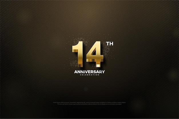 Sfondo nero per il 15 ° anniversario con numeri d'oro