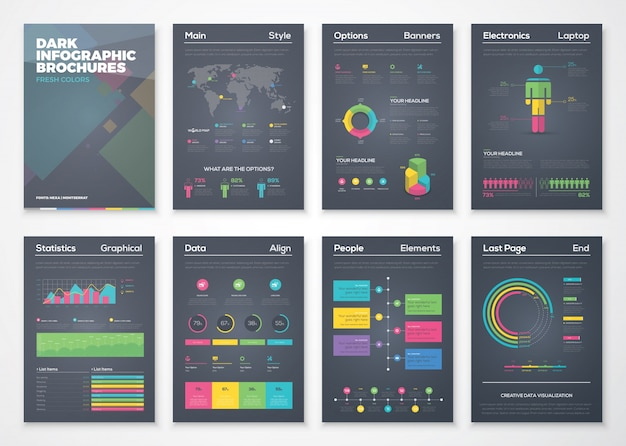 Opuscoli infografici neri con stile colorato piatto