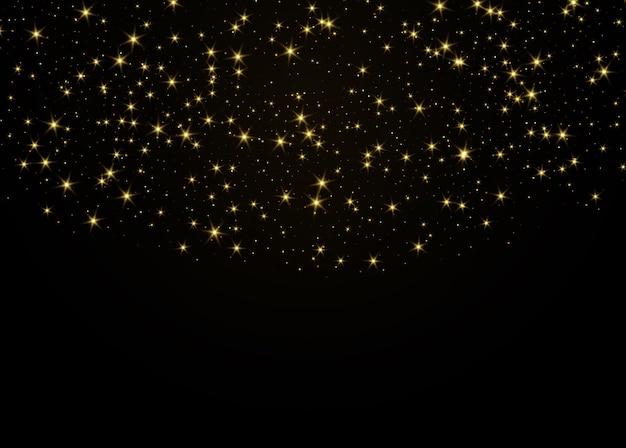 Sfondo nero con particelle dorate fiammeggianti. sfondo festivo vettoriale astratto con glitter oro e coriandoli per il design festivo.