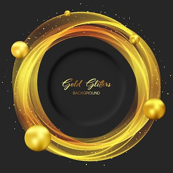 Sfondo nero con elementi dorati, rotondi, trasparenti e palline dorate. glitter oro su sfondo scuro.
