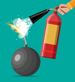 Bomba a sfera nera che sta per esplodere ed estintore a mano. bomba a cerchio in metallo con stoppino in fiamme che sta per esplodere. arresti il concetto di conflitto. illustrazione vettoriale in stile piatto