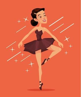 Ballerina nera. illustrazione di cartone animato piatto