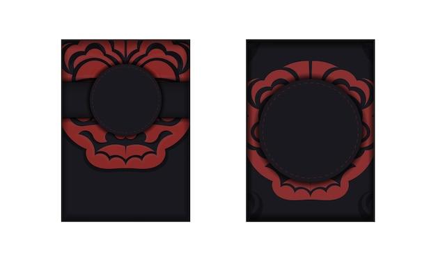 Modello di banner nero con ornamenti maori e posto per il tuo logo. sfondo di design con motivi lussuosi.