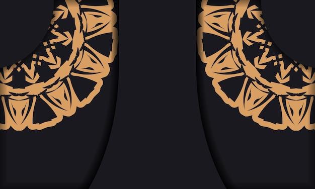 Modello di banner nero con ornamenti e posto per il tuo logo e testo. modello per lo sfondo del design di stampa con motivi lussuosi.