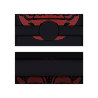 Banner nero con ornamenti maori e posto per il tuo testo e logo. sfondo di design con motivi lussuosi.