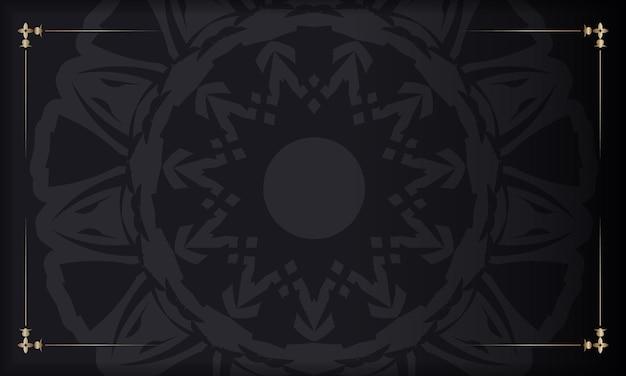 Banner nero con ornamenti e posto per il tuo logo. modello per lo sfondo del design di stampa con motivi lussuosi.
