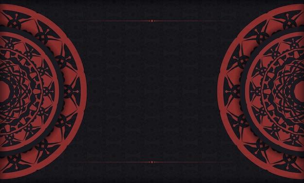 Banner nero con ornamenti e posto per il tuo testo e logo. sfondo di design con motivi vintage.