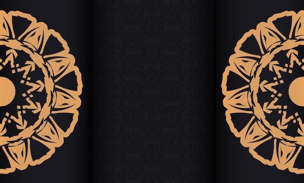 Banner nero con ornamenti e posto per il testo. sfondo di design pronto per la stampa con motivi lussuosi.