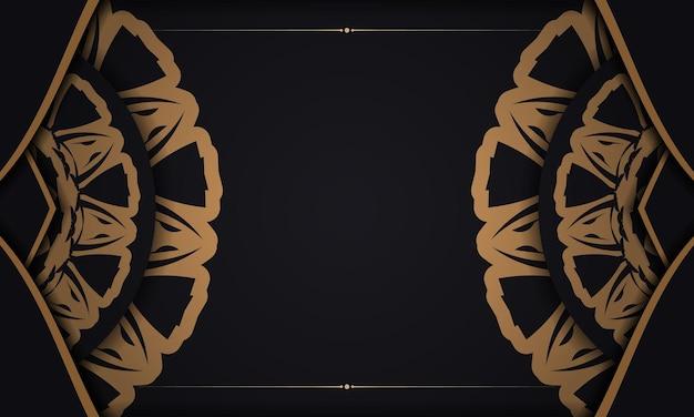 Banner nero con ornamenti per il tuo logo. sfondo di disegno vettoriale con motivi lussuosi.