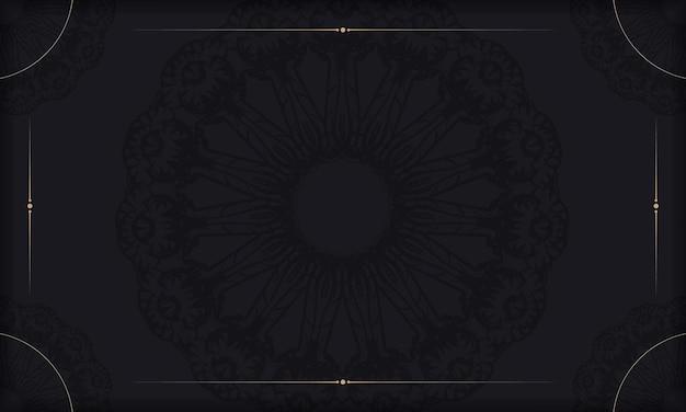 Banner nero con ornamento vintage e spazio per logo o testo
