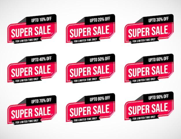 Etichetta di etichetta di sconto prezzo percentuale di sconto speciale di offerta limitata nel tempo di vendita nero grande 3d