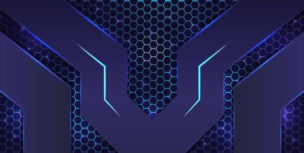 Sfondo di gioco di esports astratto nero e blu con motivo esagonale