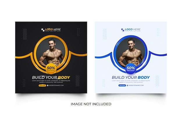 Modello di post per social media palestra fitness nero e blu con forme rotonde