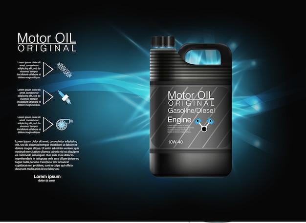Sfondo nero olio motore bottiglia, illustrazione.