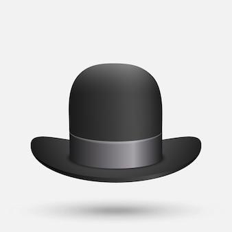Cappello a bombetta nera su sfondo bianco