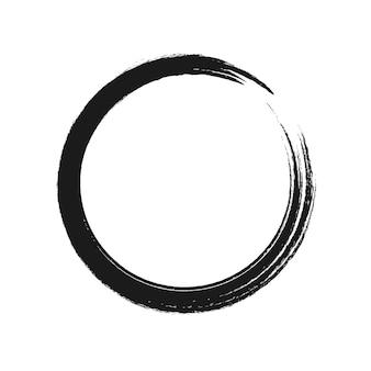 Pennellata nera a forma di cerchio. illustrazione vettoriale.