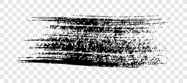 Pennellata nera. macchia di inchiostro disegnata a mano isolata su sfondo bianco trasparente. illustrazione vettoriale