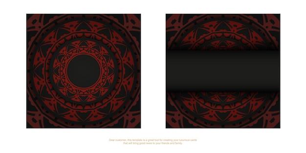 Biglietto da visita nero con ornamento greco rosso. biglietti da visita eleganti con spazio per il testo e motivi astratti.