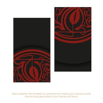 Biglietto da visita nero con ornamenti di maschere maori rosse.