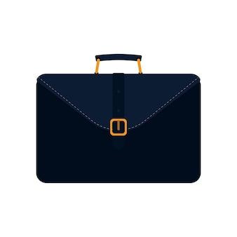 Valigia nera da lavoro. valigia per documenti o laptop. stile piatto. isolato.