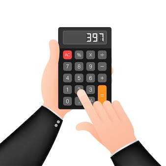 Sfondo bianco calcolatrice nera. design moderno. calcolatrice elettronica portatile. illustrazione di riserva di vettore.