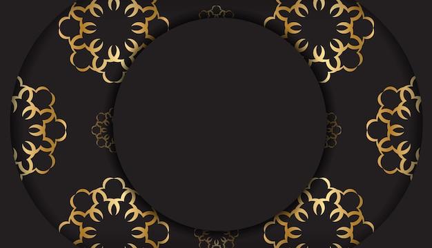Carta nera con motivo mandala dorato