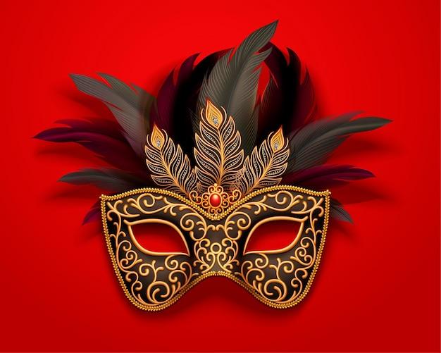 Maschera di carnevale nera con decorazioni di piume su rosso, stile 3d