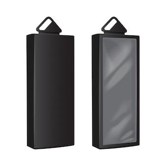 Scatole di cartone nere con foro per appendere in plastica. imballaggio realistico. scatola del software