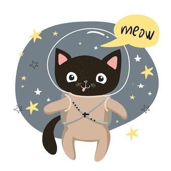 Cosmonauta gatto nero nello spazio, illustrazione vettoriale per bambini