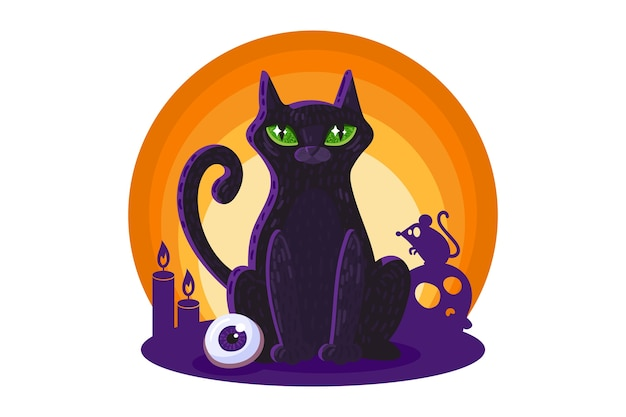 Gatto nero per elemento di disegno di carta o poster di halloween.
