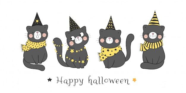Gatto nero indossare cappello da strega per halloween.