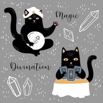 Gatto nero con cristalli ortuneteller set di magia e divinazione simboli di stregoneria e occultismo