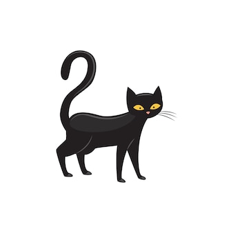 Gatto nero con gli occhi gialli e illustrazione vettoriale piatta coda lunga isolato