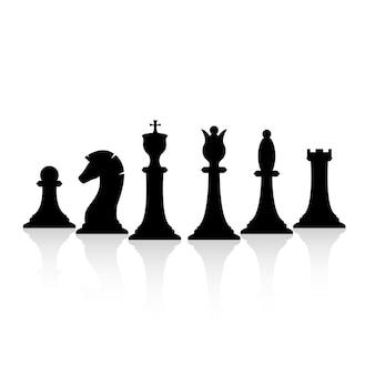 Set di pezzi degli scacchi neri