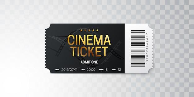 Biglietto del cinema nero isolato