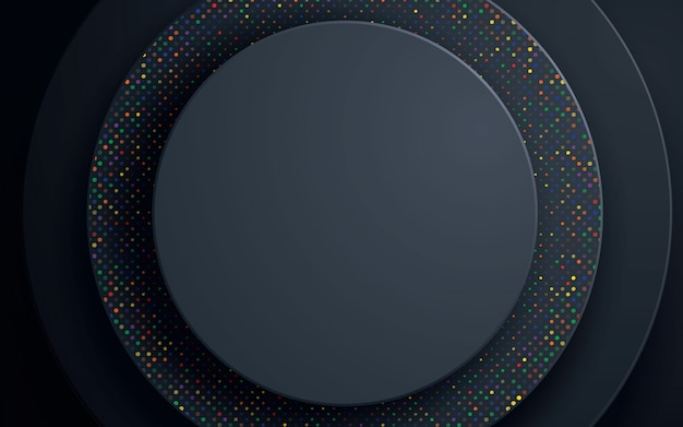 Sfondo astratto cerchio nero con glitter colorati