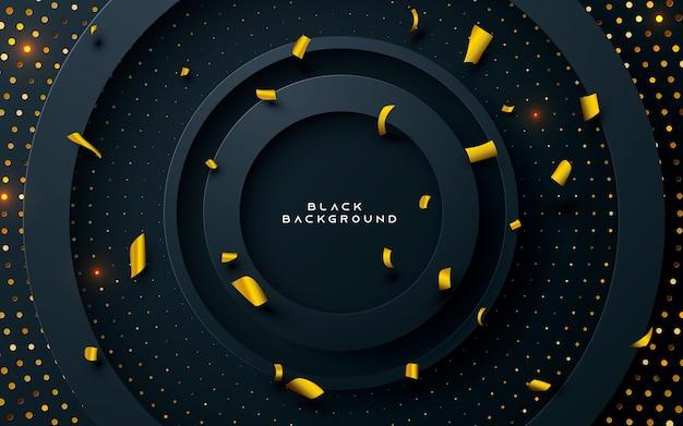 Sfondo nero strato cerchio con glitter oro